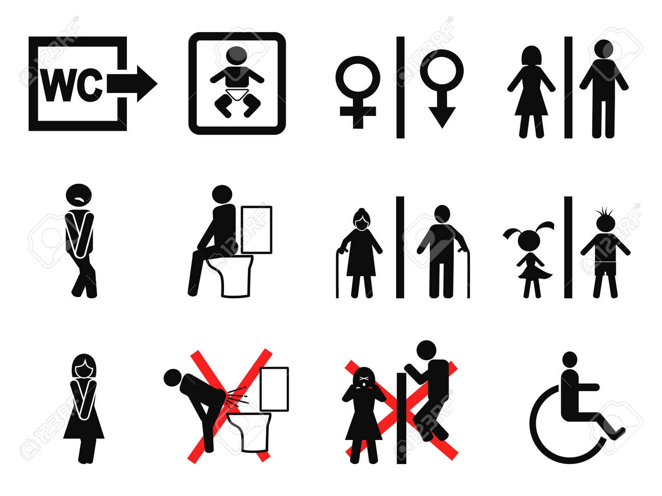 Isolated Black Bathroom Symbol On White Background Royalty Free Cliparts Vectors And Stock Illustration Image 38018639
