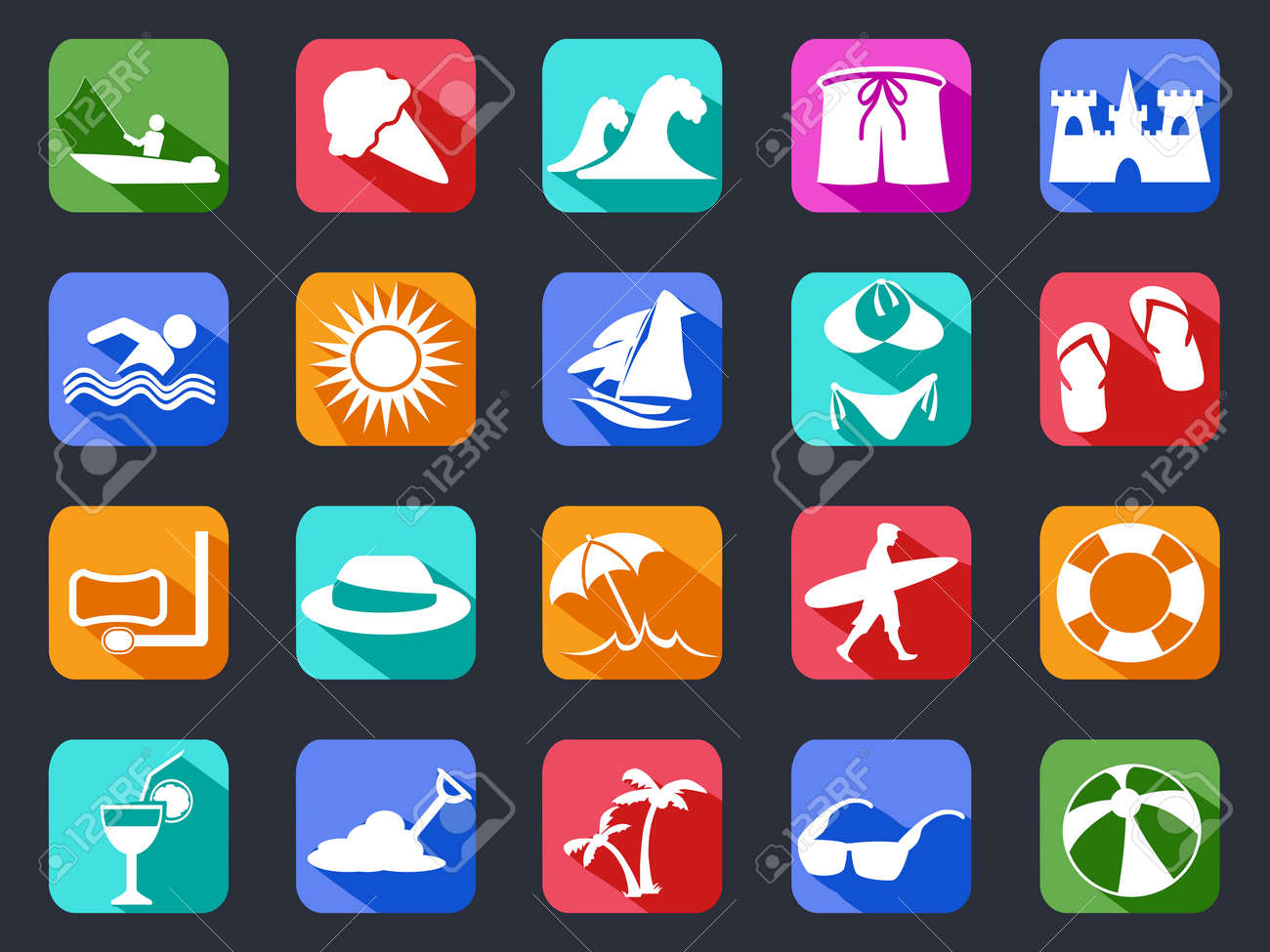 isolated summer beach flat icons set with long shadow on black background - 38018683