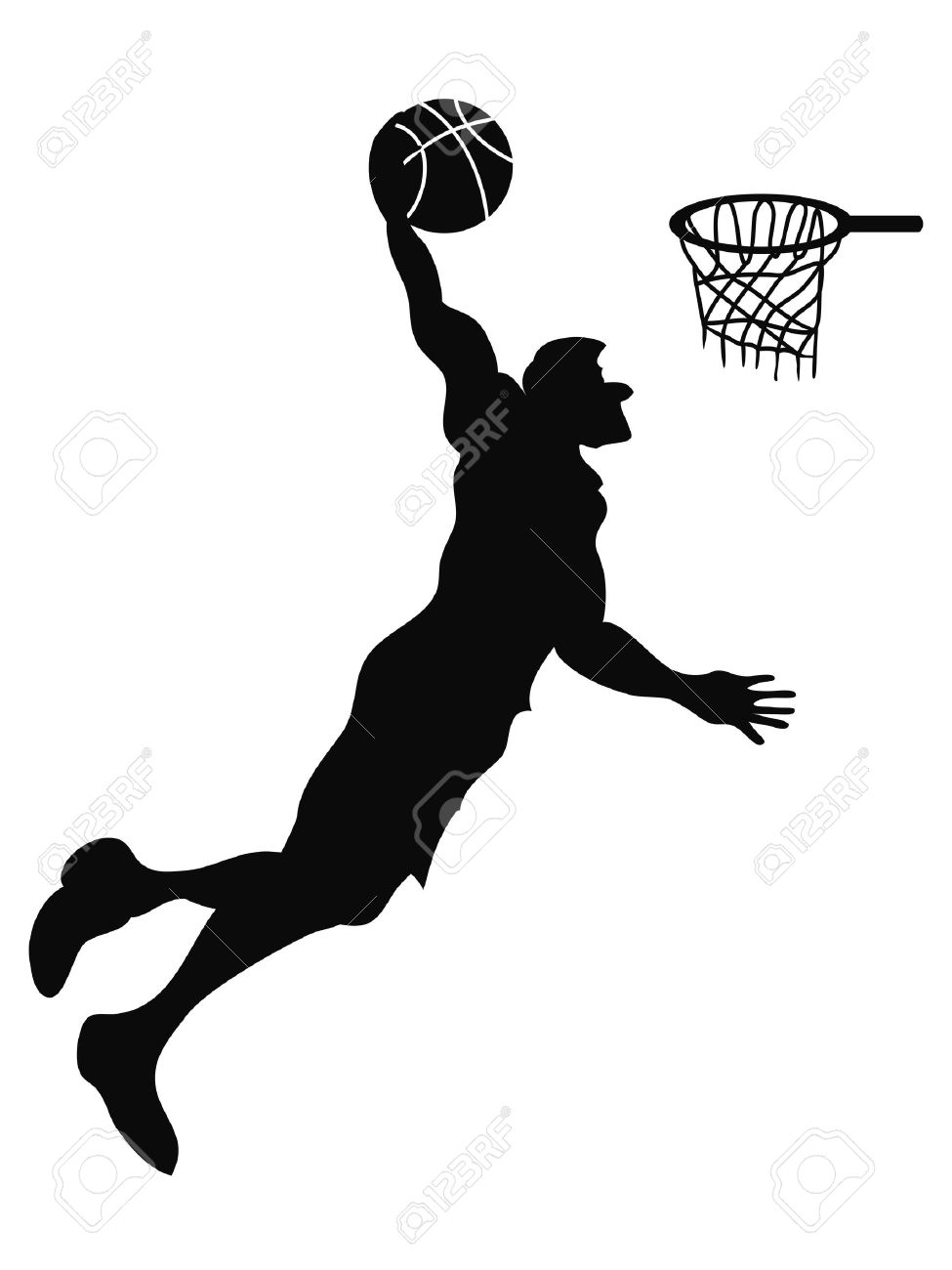 isolated the silhouette of Basketball player Slam Dunk from white