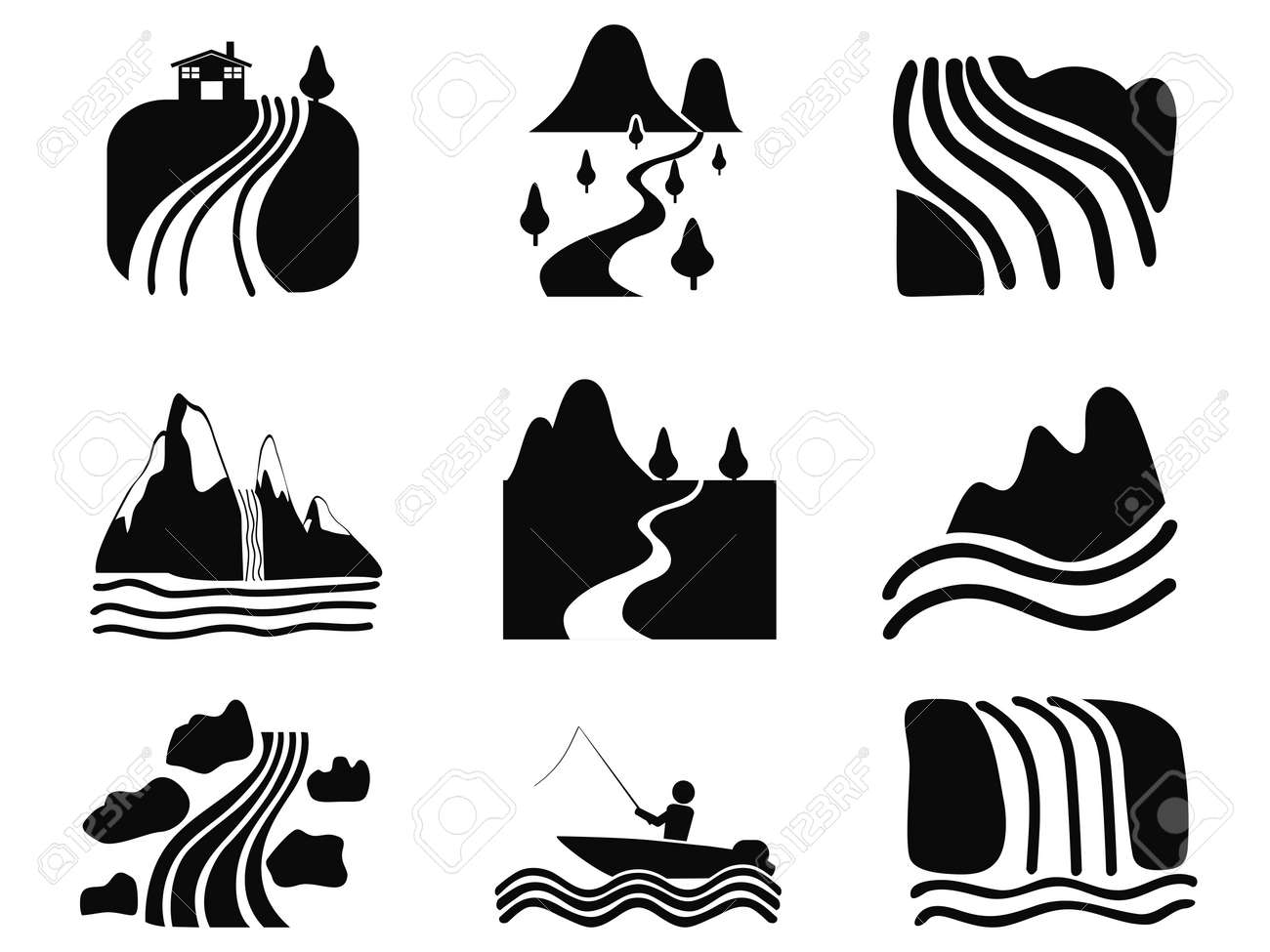 isolated black river icons set on white background royalty free cliparts vectors and stock illustration image 48420924 isolated black river icons set on white background