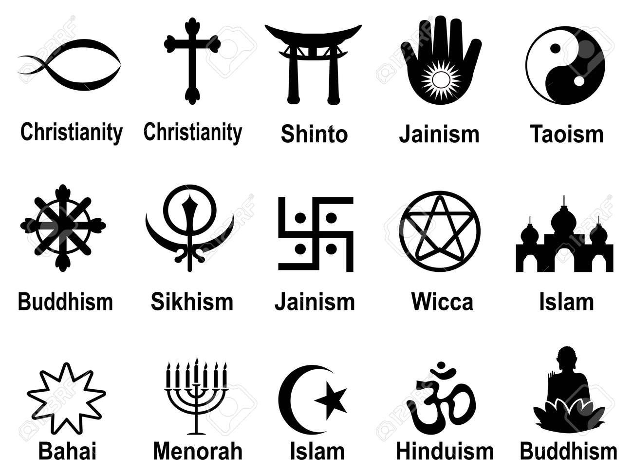 Aislado Negro Religiosos Símbolos Iconos Conjunto De Fondo Blanco