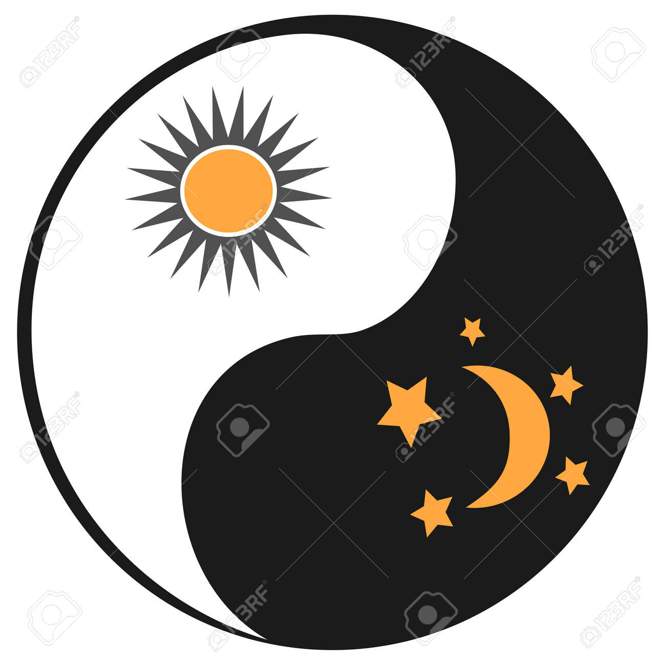 Isolated Sun And Moon In Ying Yang Symbol From White Background
