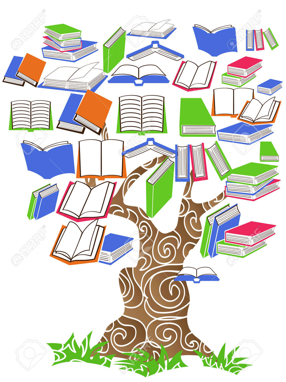 Concept books tree Clipart | k14699444 | Book tree, Library art, Tree images