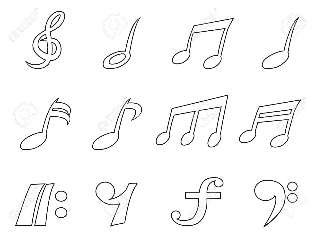 isolated black music note outline icons set from white background