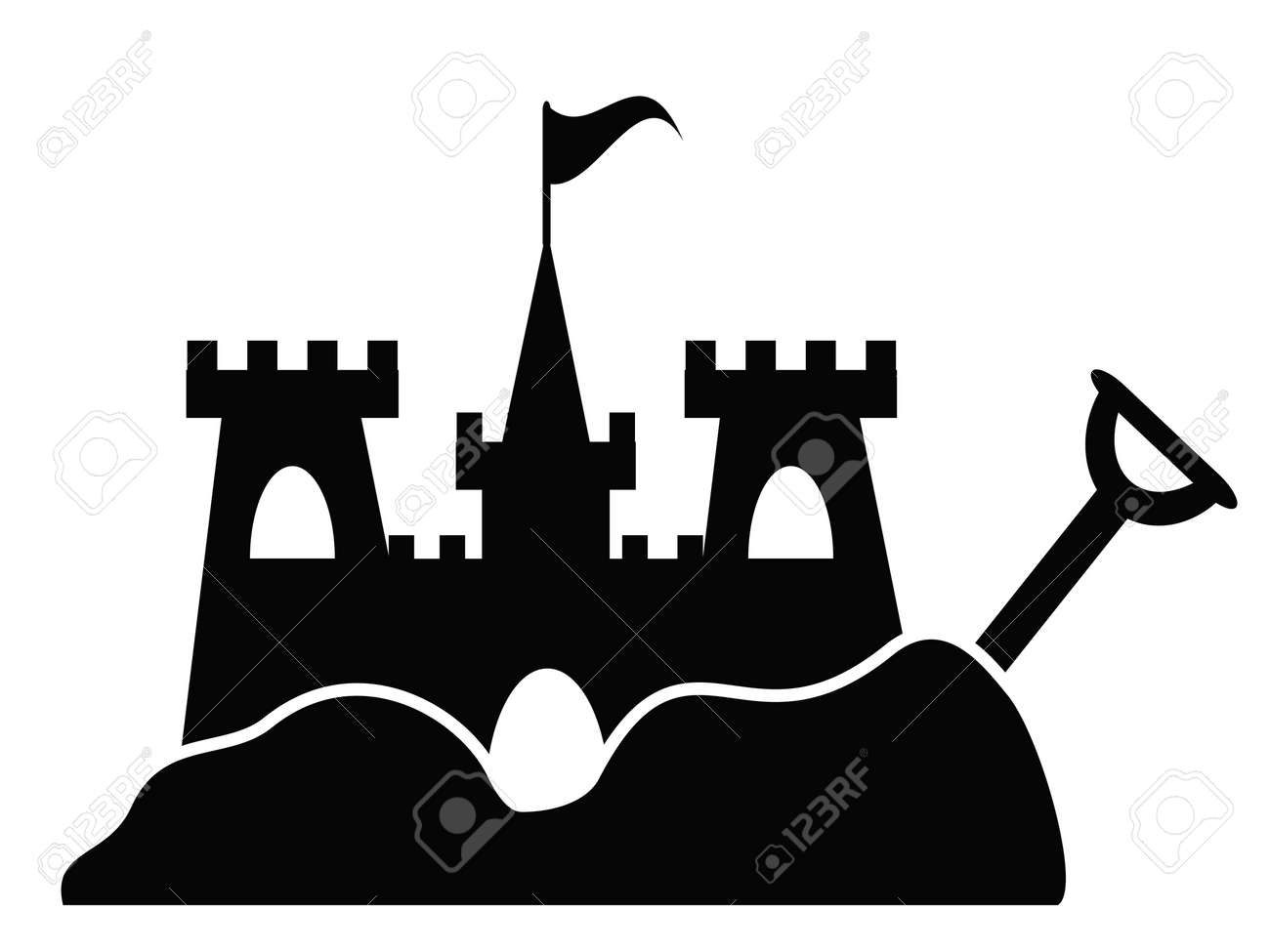 isolated simple sand castle icon from white background - 105685555