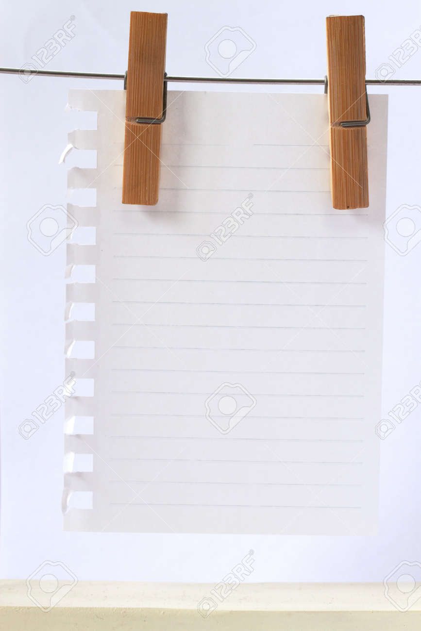 Note Paper Hanging On By 2 Clips Stock Photo  14333235