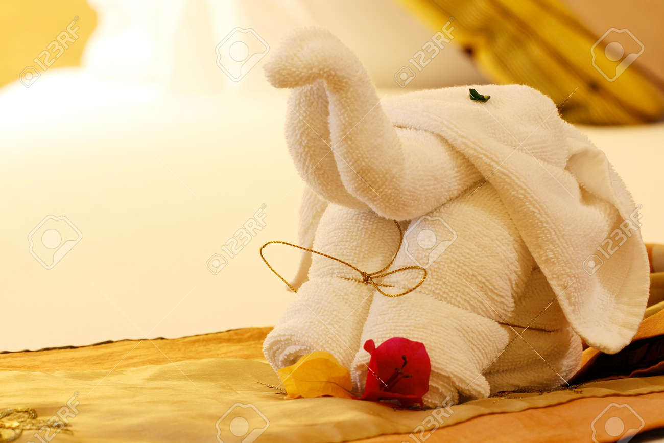 Towel Folded In Elephant Shape Stock Photo Picture And Royalty Free Image Image 15358269