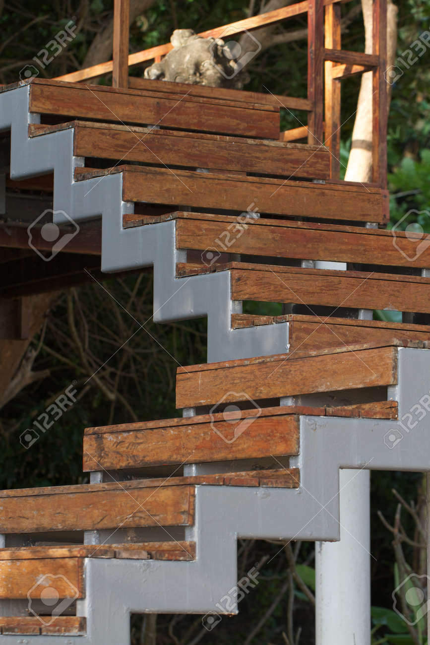 Wooden Stairs Outside The House Stock Photo Picture And Royalty