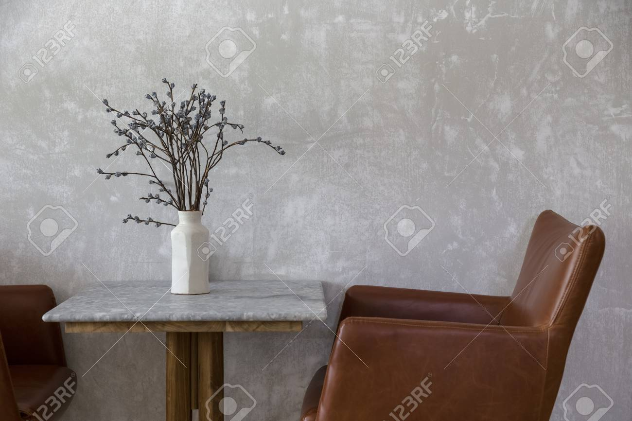 Set Of Vintage Table And Chair With Fake Flower Vase Decoration Stock Photo Picture And Royalty Free Image Image 110973864