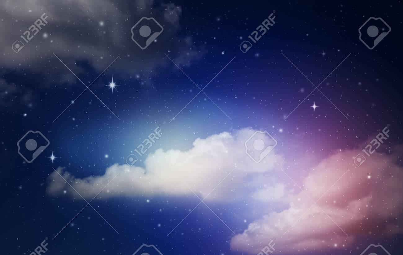 fantasy colorful night sky with cloud and stars - 148593110