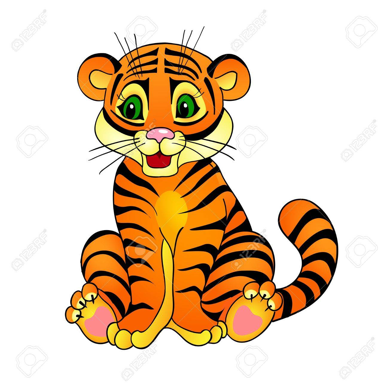 tiger cartoon , with isolation on a white background - 15526812