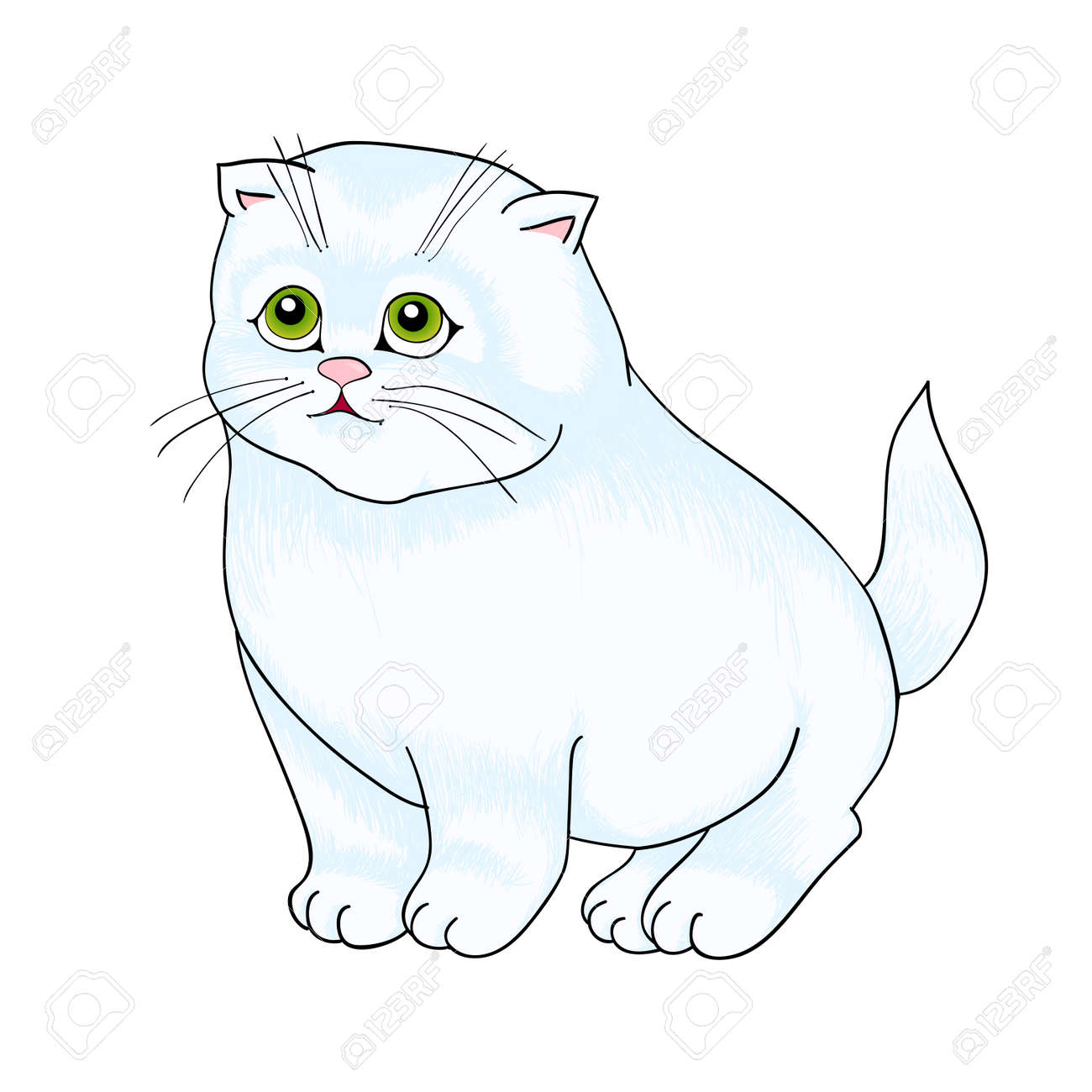 white cat sitting, with isolation on a white background Stock Vector - 15526752