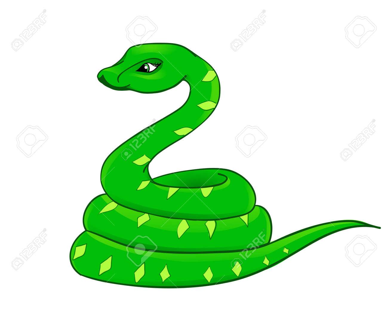 Dessin Animé Serpent dessin animé serpent avec l'isolement sur un fond blanc clip art