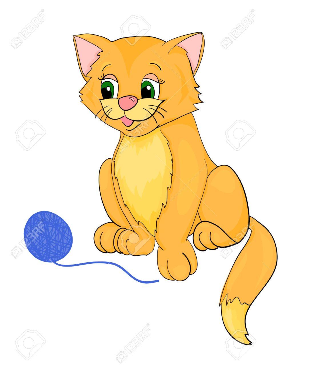 gatos jugando jugando al gato, dibujos animados, con el aislamiento en un  fondo