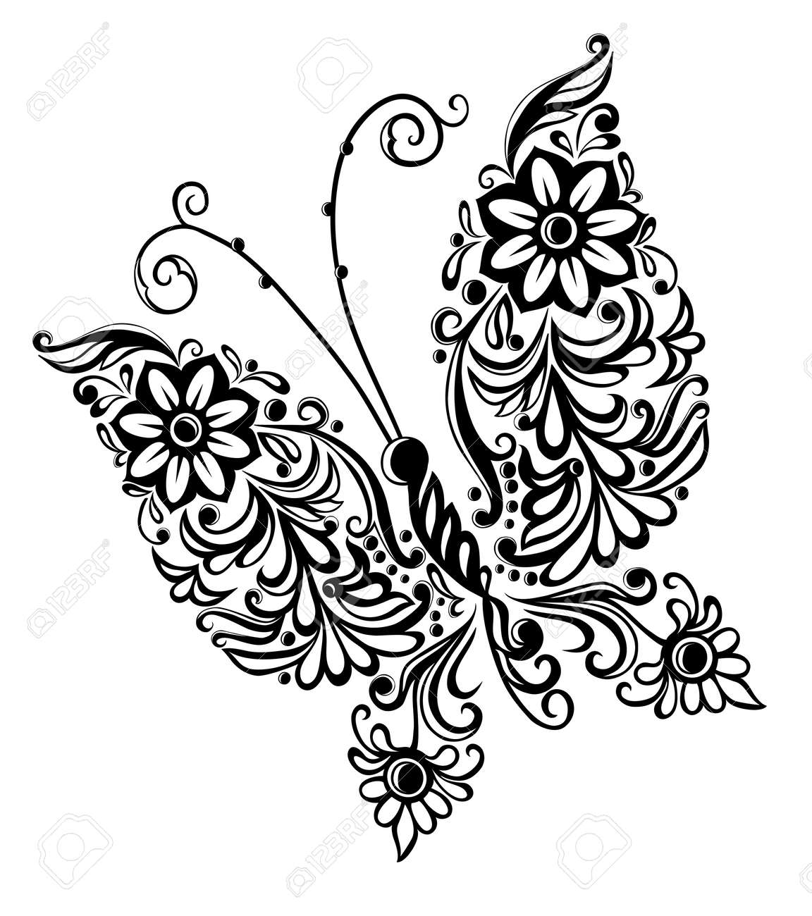 painting butterfly,swirl abstract element design - 16012758