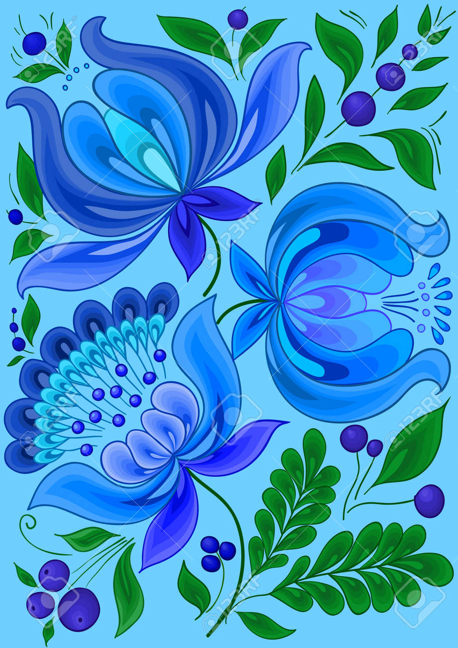 hand-drawn floral background with flowers cool colors design illustration, - 16100179