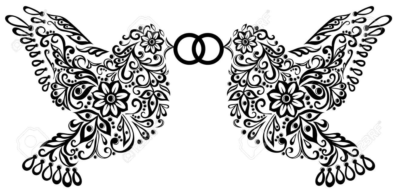 wedding clipart silhouette of two birds that keep the ring royalty rh 123rf com wedding clip art wedding clip art borders