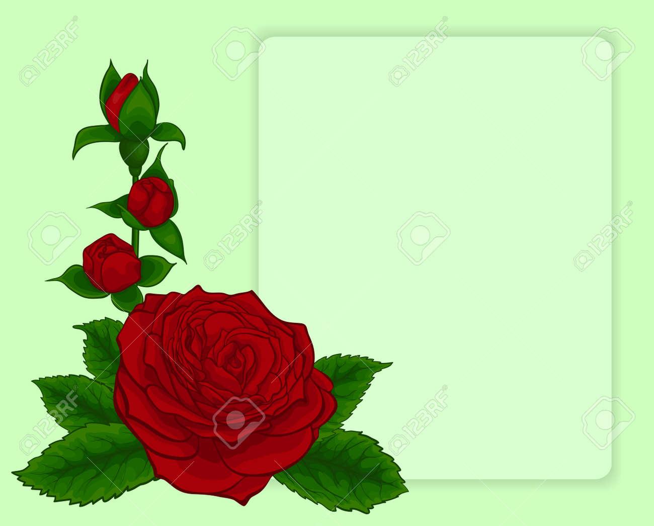 Ramo De Rosas Rojas. Diseño Del Marco Con Estampado De Flores ...