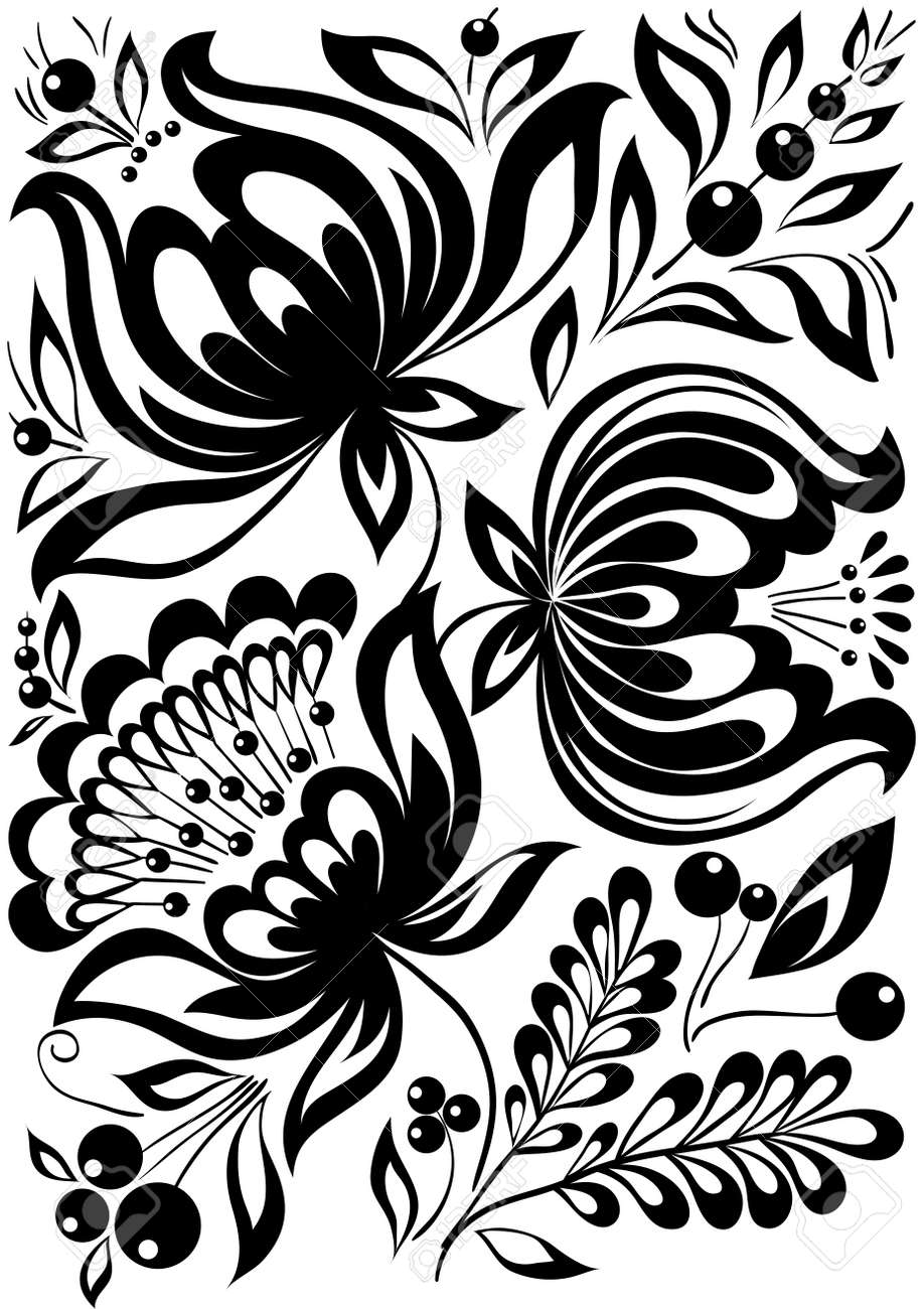 Abstract black and white flowers stylish retro ornament design abstract black and white flowers stylish retro ornament design element stock vector 17218677 mightylinksfo