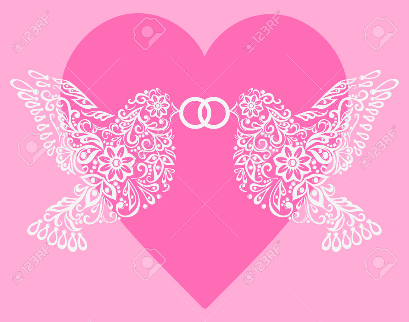 Silhouette Of Two White Birds That Hold The Ring Against Pink ...