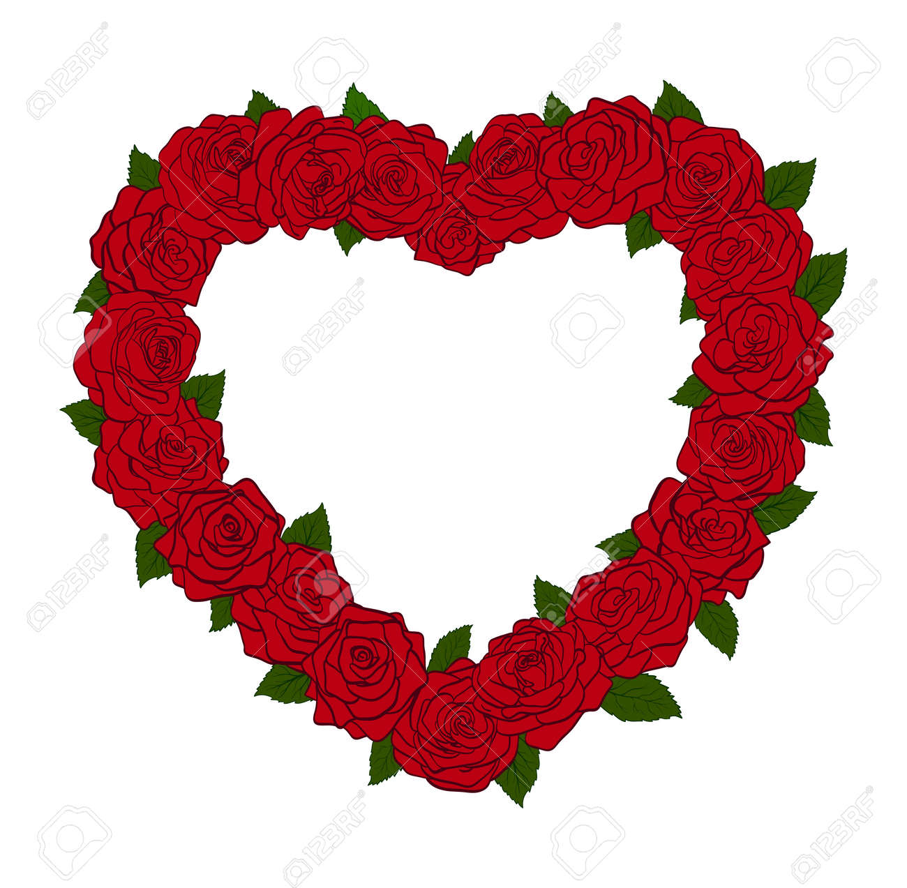The frame in the form of a silhouette of the heart, bordered with flowers roses and leaves. Great item for card designs Stock Vector - 17218683