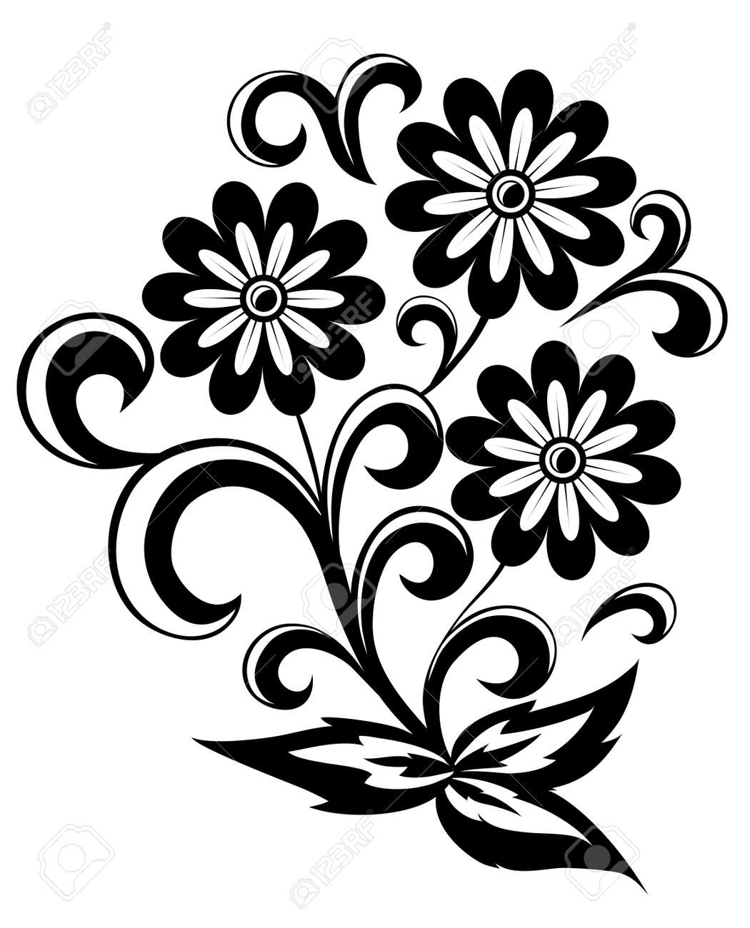 black and white abstract flower with leaves and swirls isolated on white background stock vector