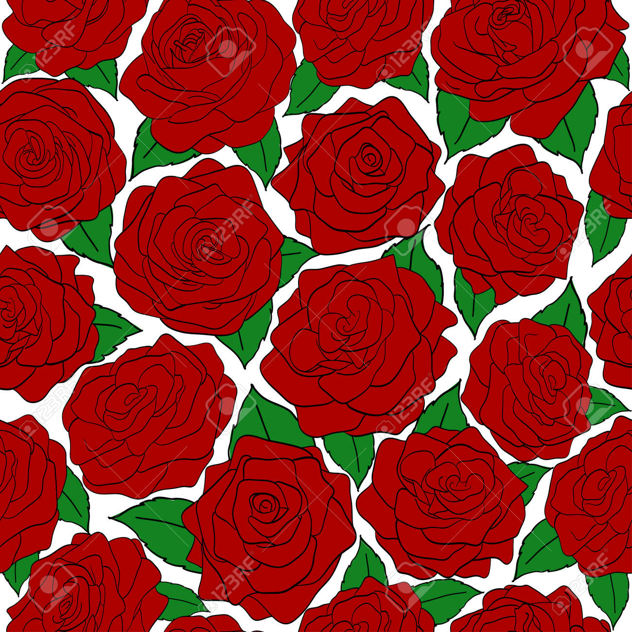 seamless pattern of red roses on a white background Stock Vector - 17667044