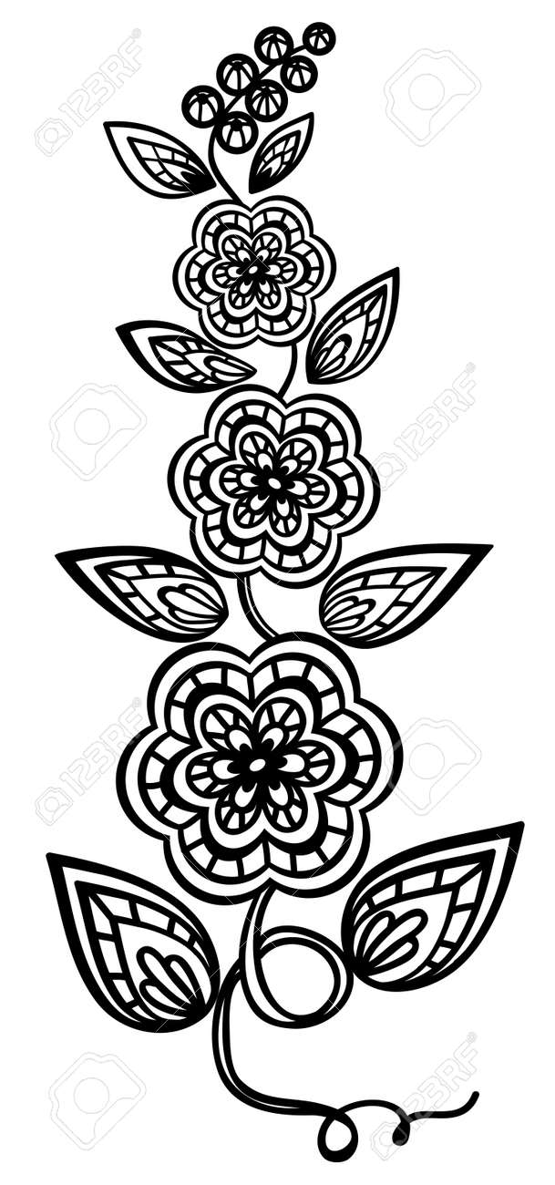 Beautiful floral element. Black-and-white flowers and leaves design element with imitation guipure embroidery. - 17833402