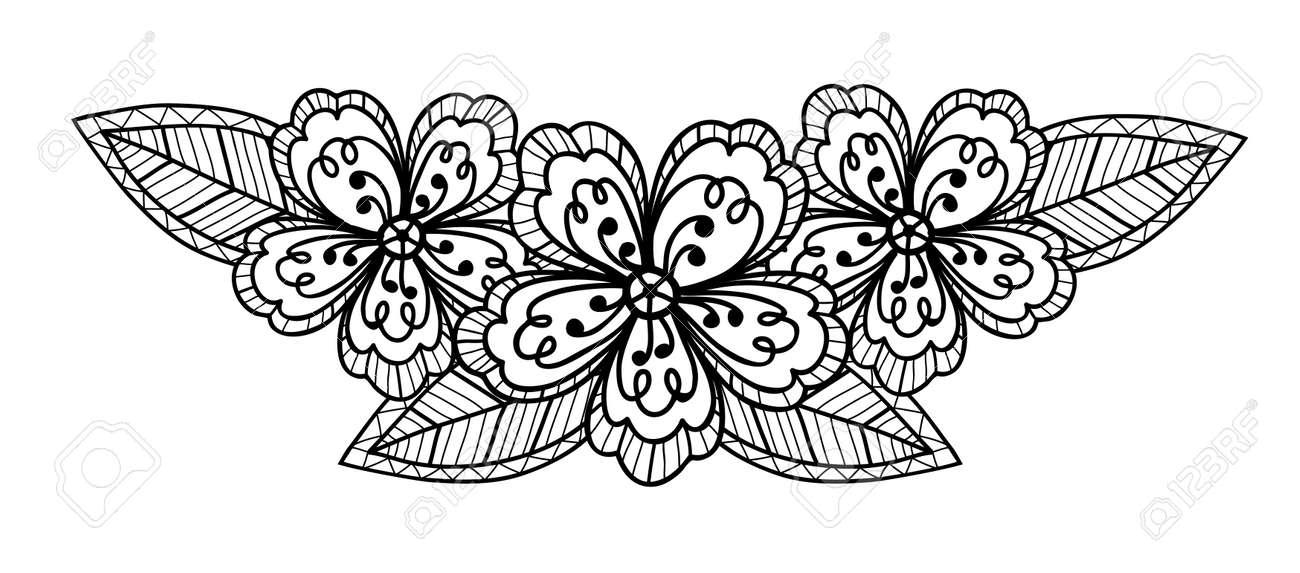 Beau Noir Et Blanc Dessin à La Main Fleur