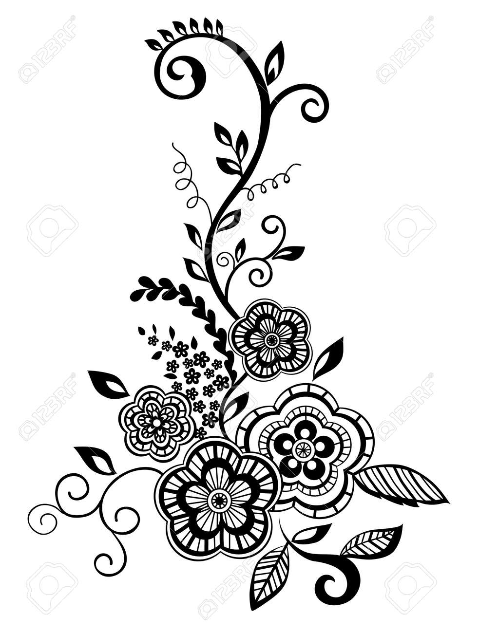Beautiful floral element. Black-and-white flowers and leaves design element with imitation guipure embroidery. - 17833415