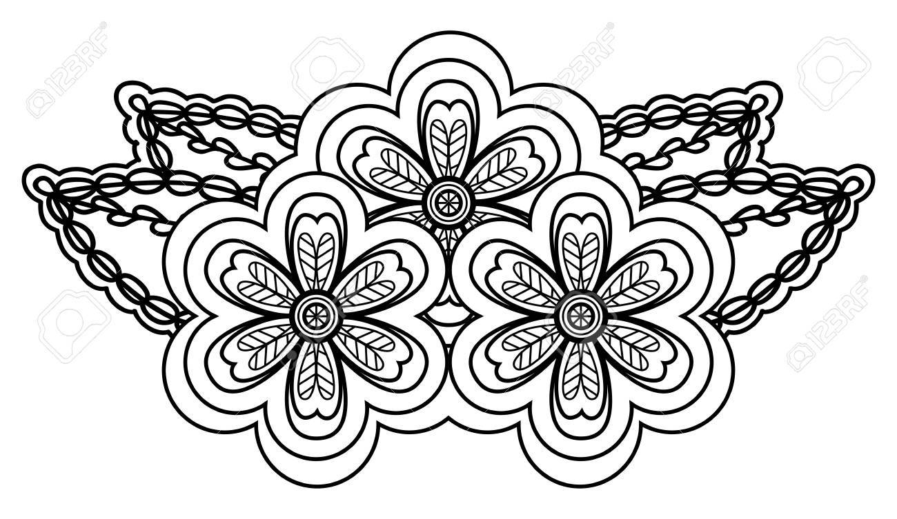 abstract black and white floral arrangement in the form of border angle. Isolated on white background Stock Vector - 17833403
