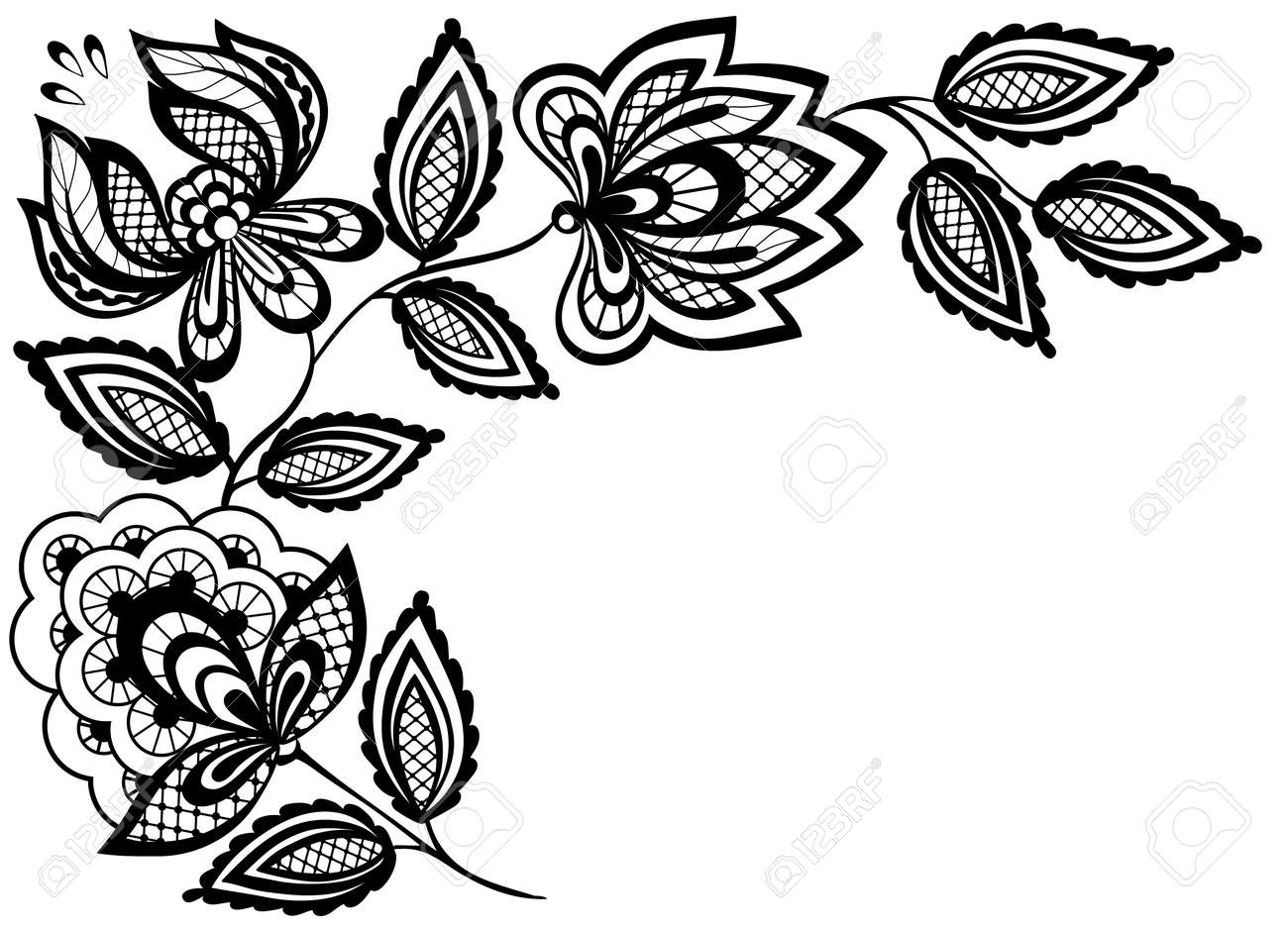 Black and white lace flowers and leaves isolated on white. Many similarities to the author's profile - 18120352