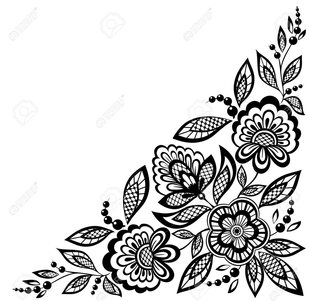 corner ornamental lace flowers are decorated in black and white. Many similarities to the author's profile - 18120346
