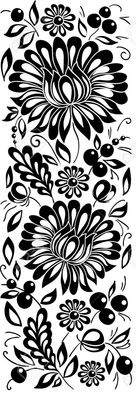 black-and-white flowers and leaves. Floral design element in retro style - 18120345