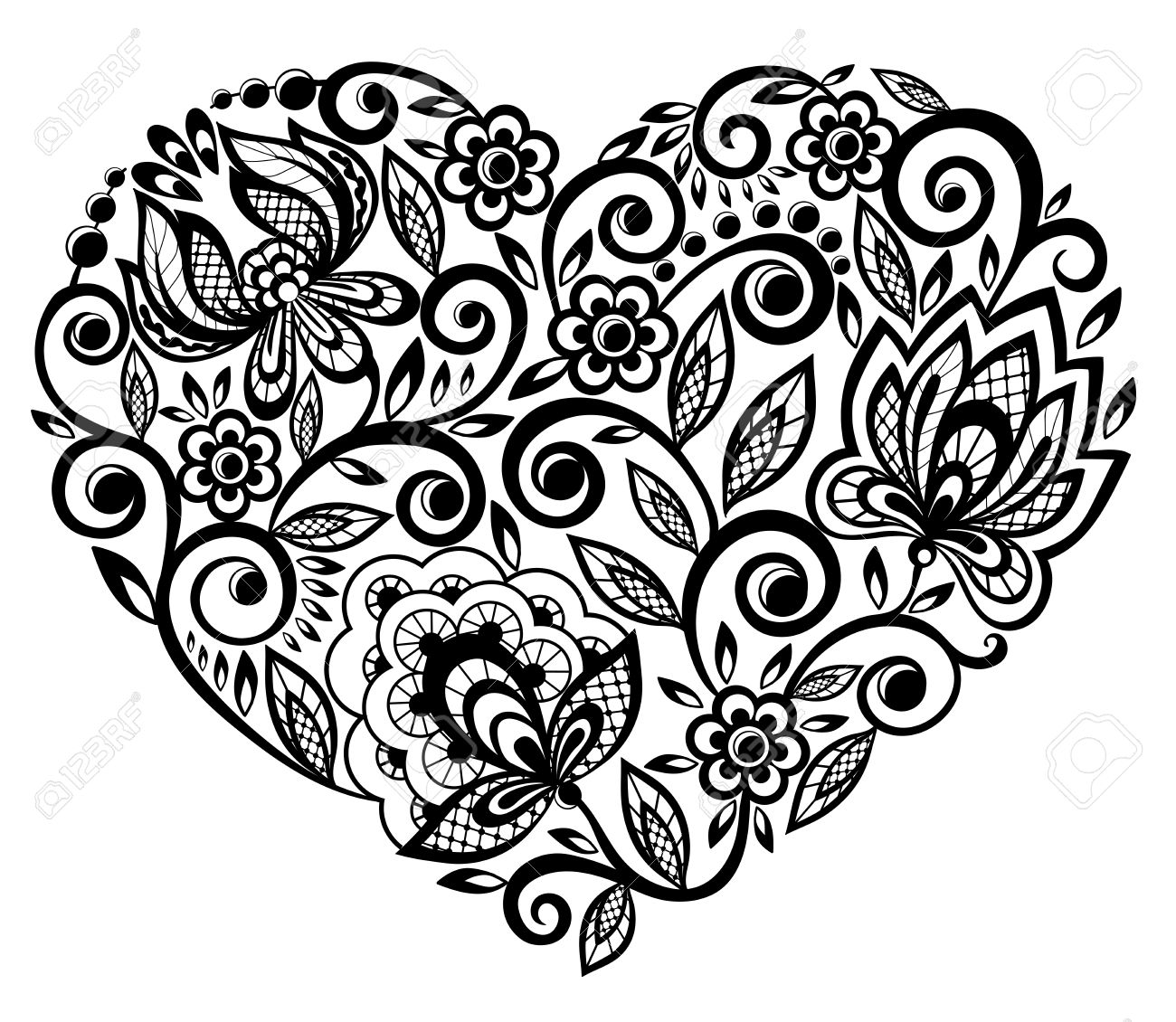 beautiful silhouette of the heart of lace flowers - 18276277