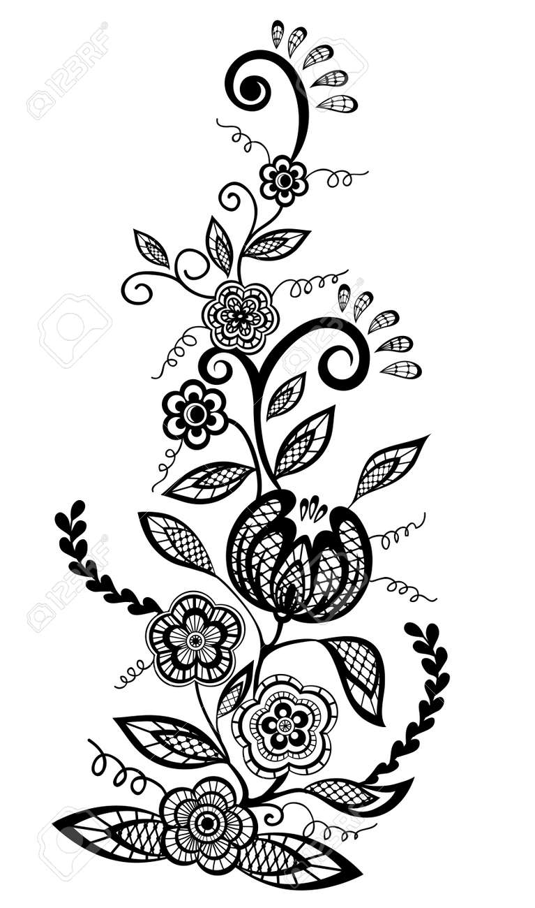 Black-and-white flowers and leaves design element - 18276264