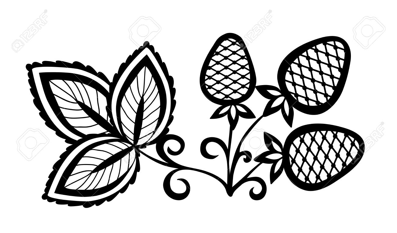 black and white abstract strawberry, flower with leaves and swirls isolated on white background Stock Vector - 18276268
