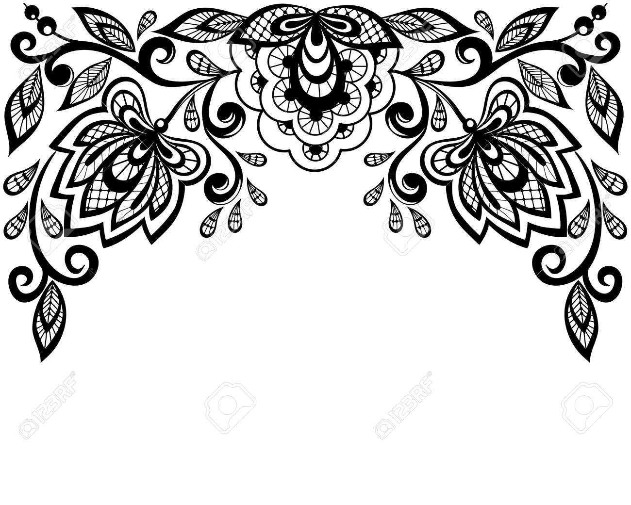 Black and white lace flowers and leaves isolated on white - 18276273