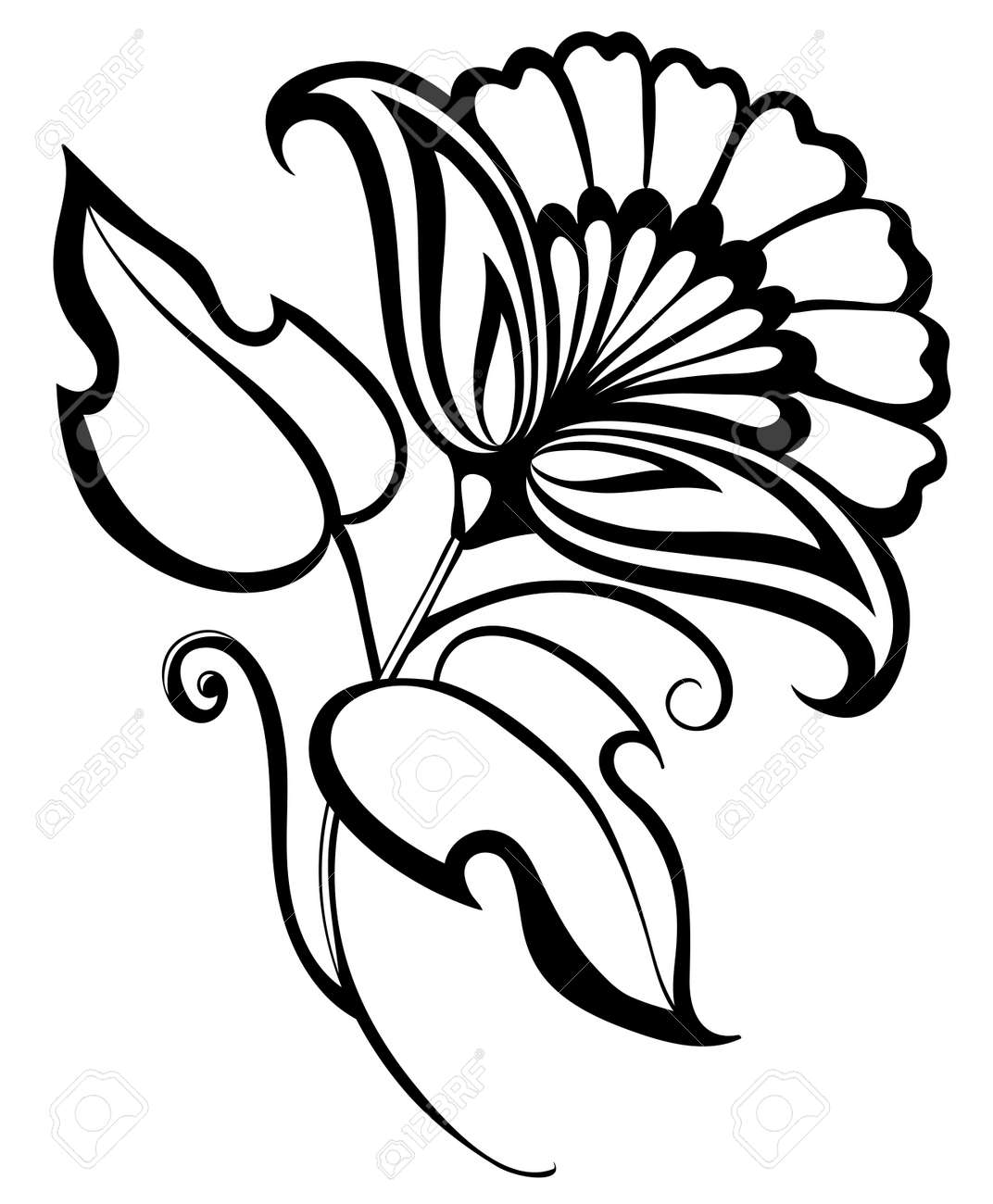 beautiful black and white flower, hand drawing  Floral design element in retro style Stock Vector - 18333294