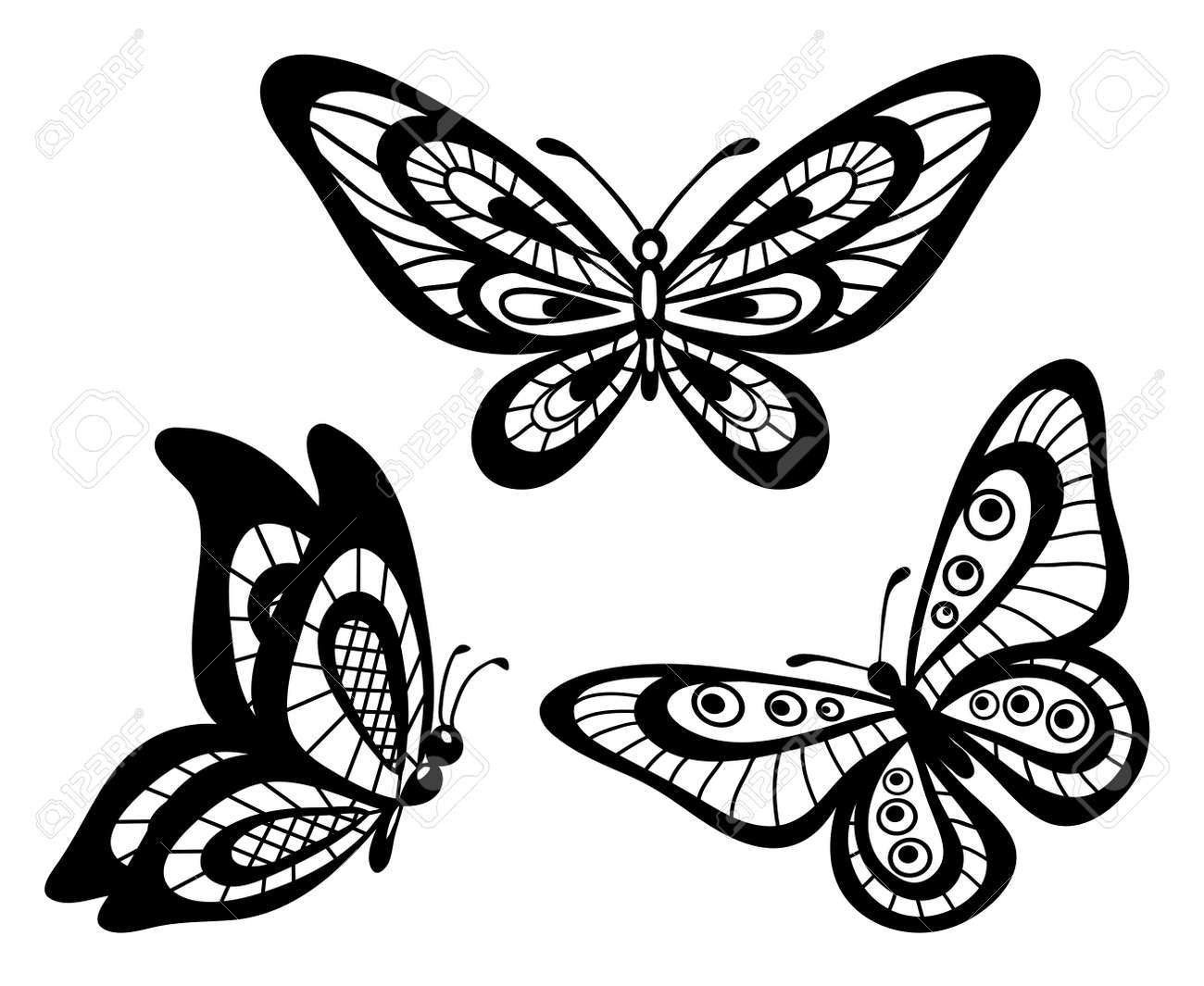 set of beautiful black and white guipure lace butterflies Many similarities to the author s profile - 18333292