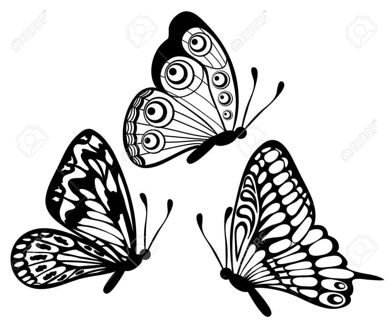 Ensemble De Belles Papillon Noir Et Blanc Isolé Sur Blanc Clip Art