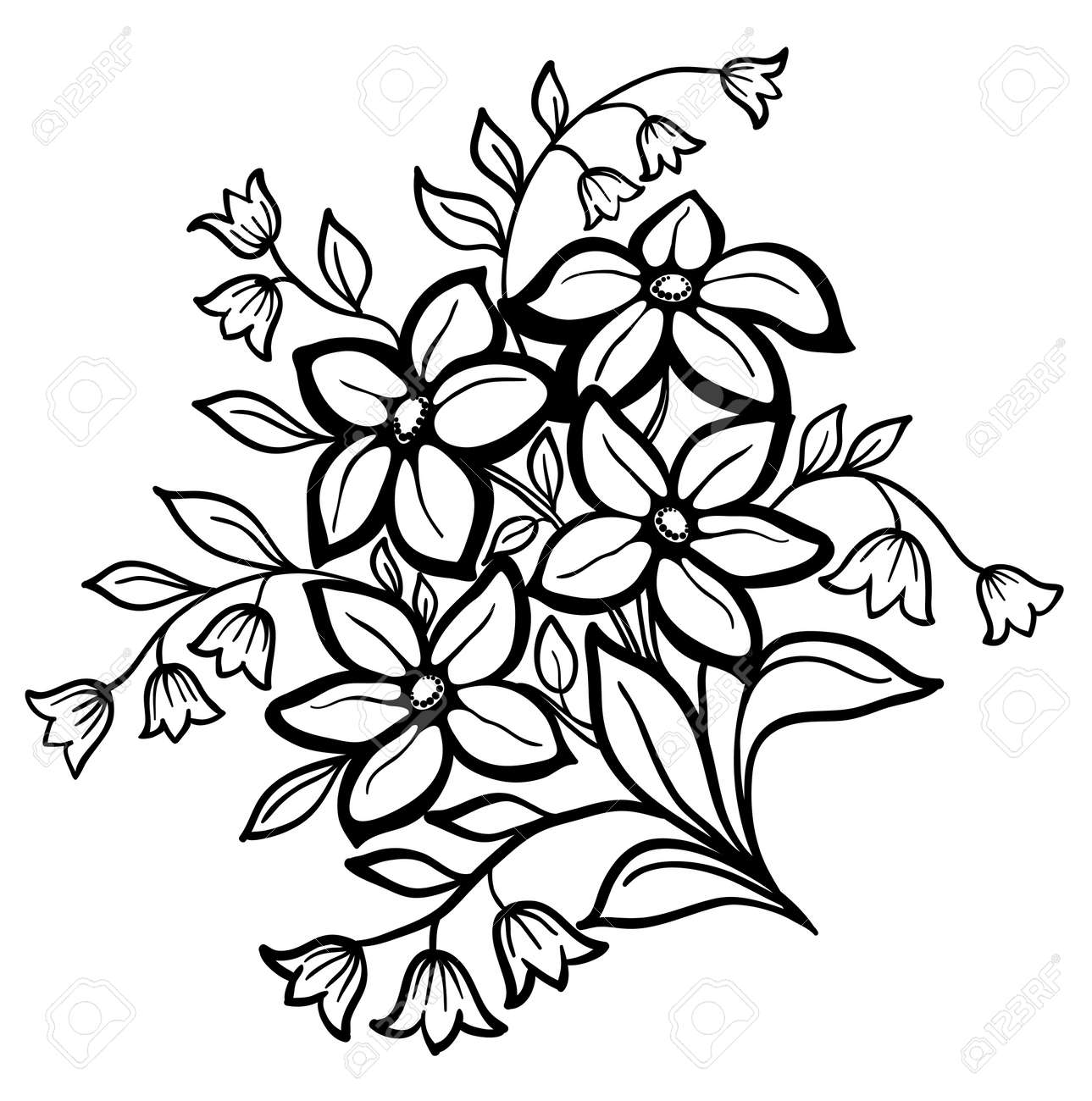 Beautiful Flower Arrangement A Black Outline On A White Background