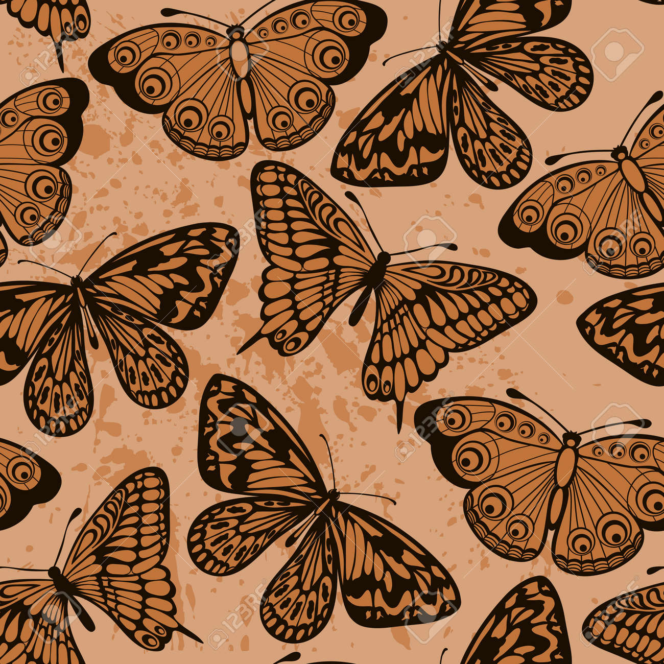Beautiful seamless background Butterflies on old dirty paper Vintage style Many similarities to the author - 19242474