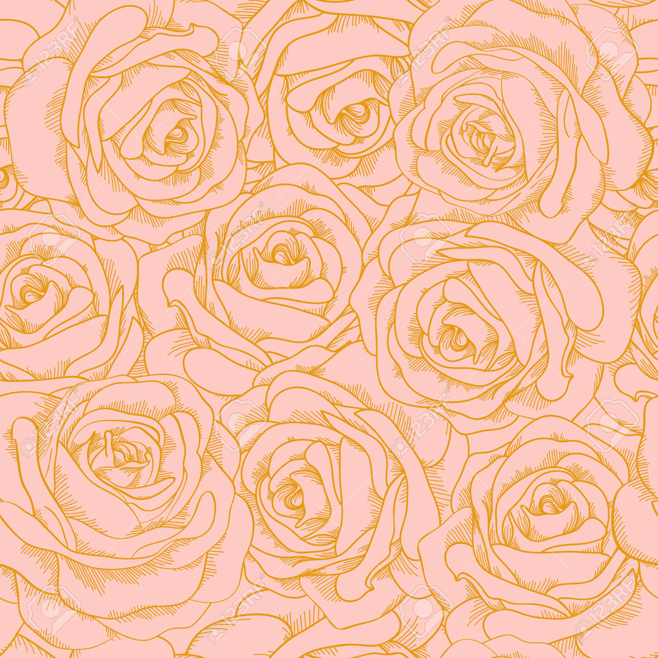 Beautiful Seamless Background Of Pink Roses With A Gold Outline