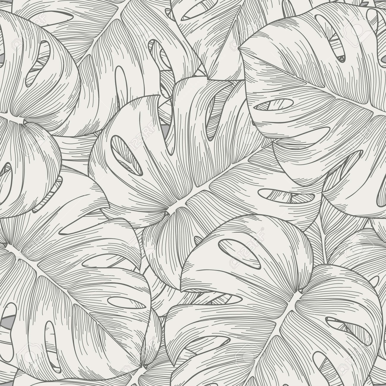 seamless background leaves monster with outline - 19242482