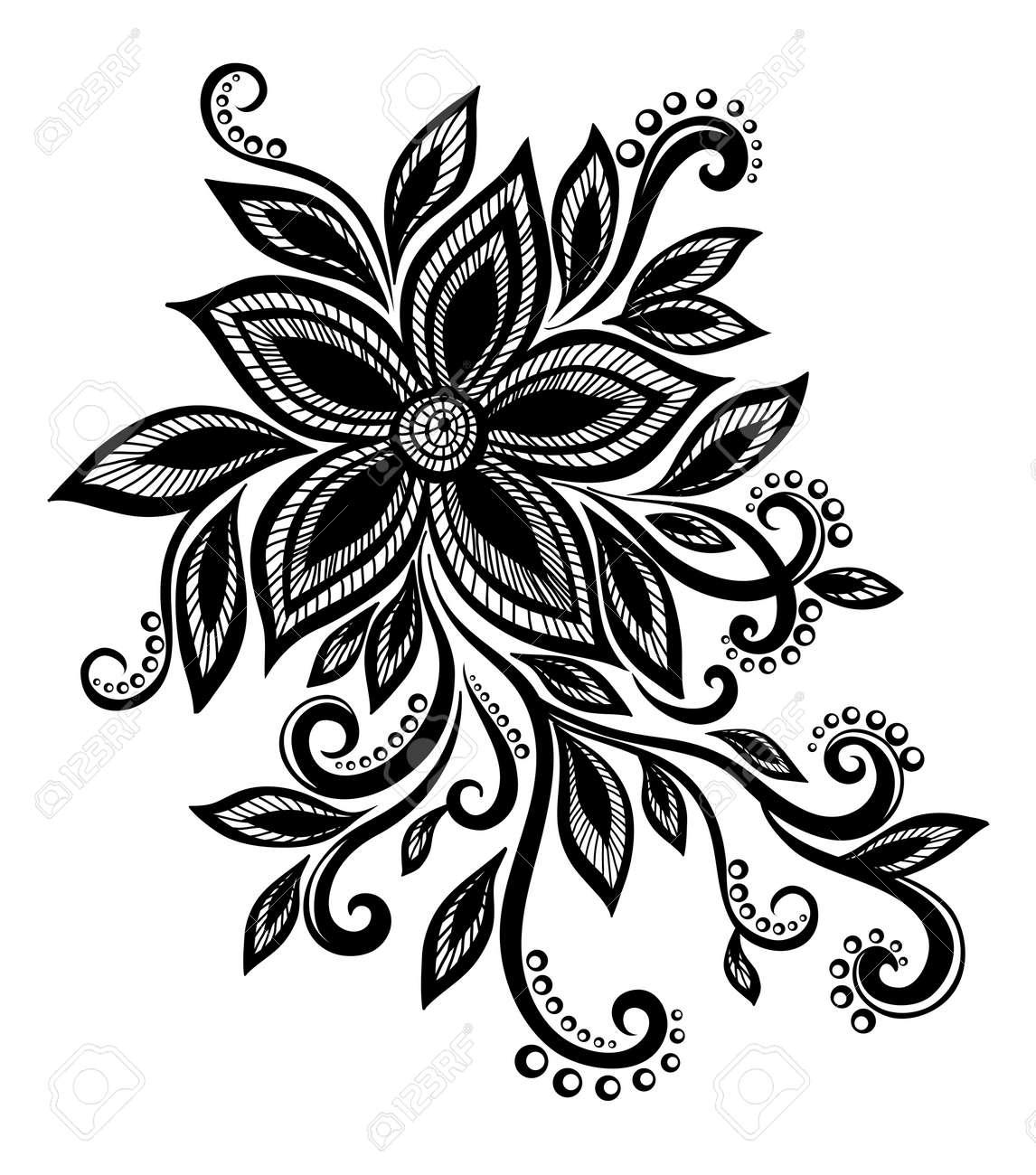 Belle Fleur Noir Et Blanc Avec Imitation Dentelle Oeillets Element