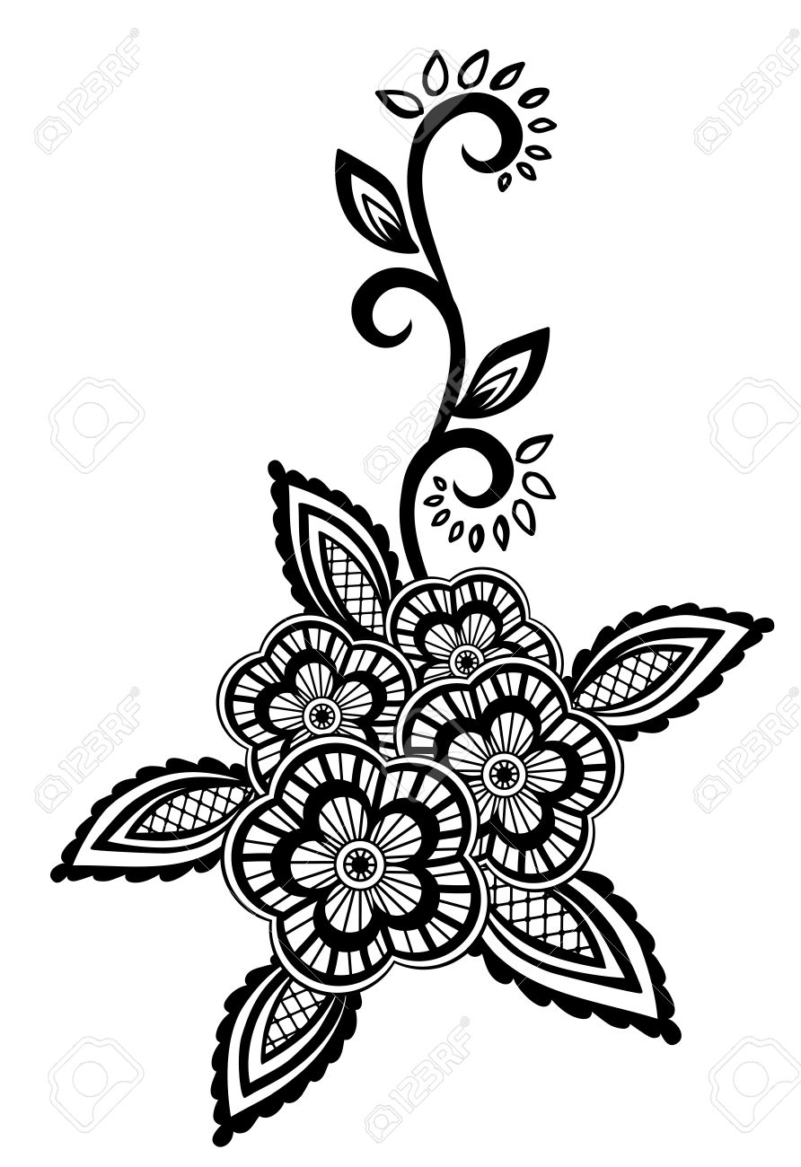 Beautiful floral element. Black-and-white flowers and leaves design element with imitation guipure embroidery. Many similarities in the profile of the artist - 19859051