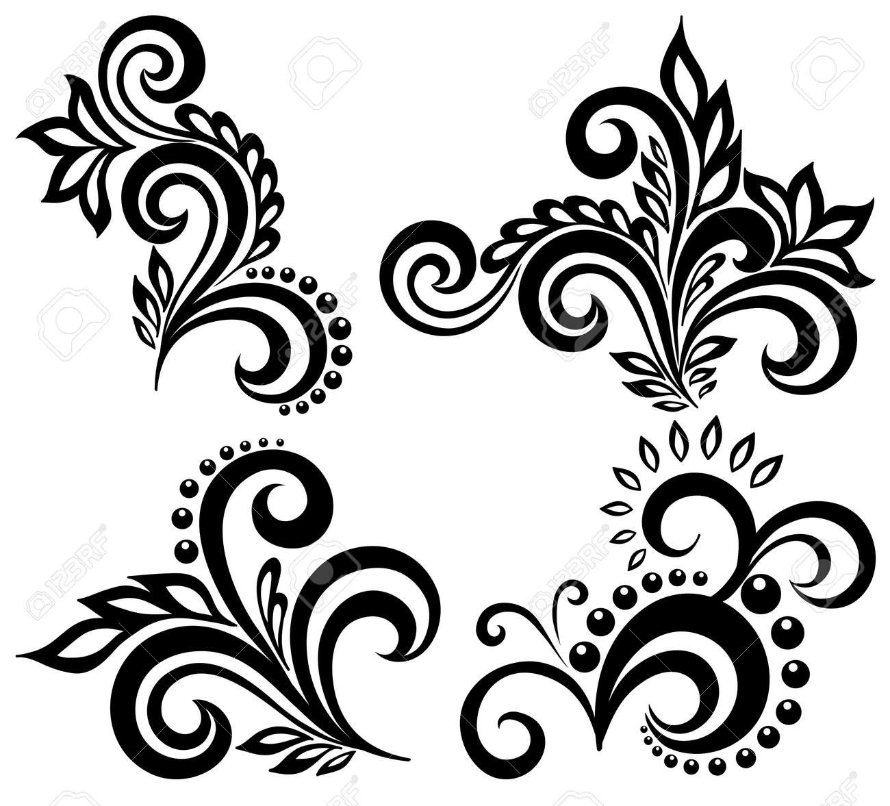 set of black and white floral elements. Many similarities in the profile of the artist - 19859054