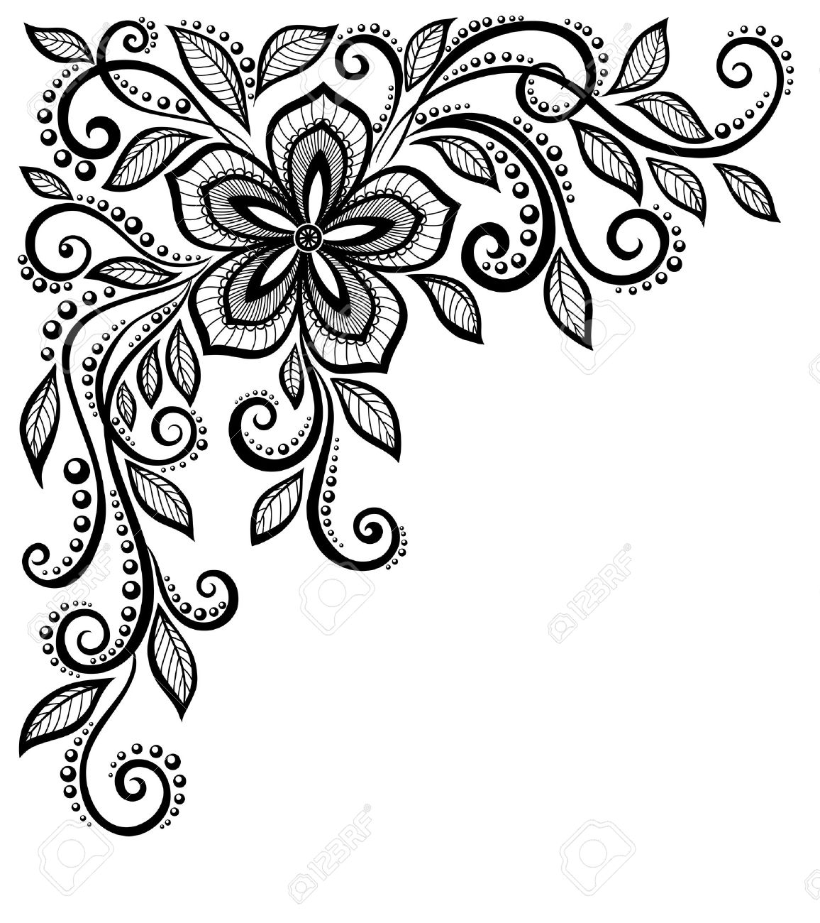 beautiful black-and-white lace flower in the corner With space for your text and greetings Many similarities in the profile of the artist - 20314192