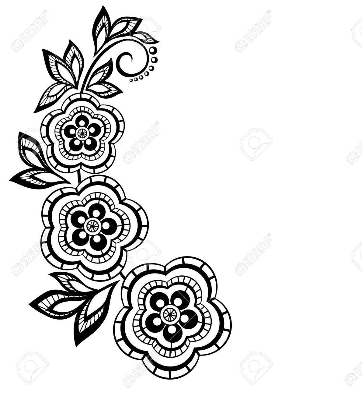 Isolated branch with flowers design element With the effect of lace eyelets Many similarities in the profile of the artist - 20314196